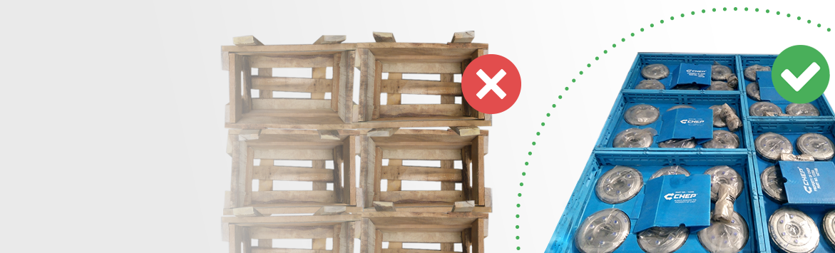 A banner image featuring multiple old wooden crates compared to multiple CHEPs sustainable blue RPCs. The wooden crates feature an 'X' whilst the CHEP RPCs feature a tick. The composition aims to illustrate CHEP's RPCs as a sustainable, preferred form of crate. The content is over a grey to white gradient background.
