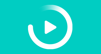 Play button icon inside circle graphic over a turquoise gradient background