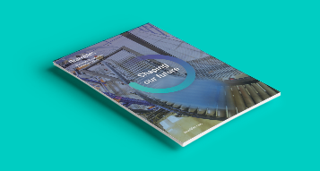 A photograph of Bramble's 2019 Annual Report on a turquoise colour background