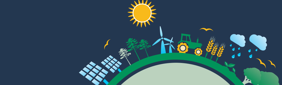 The banner image features a close-up of the 2020 Sustainability Goals Graphic (focusing on the Better Planet section) which consists of a flat, 2D illustrated of a globe. Positioned all the way around the circumference of the globe are illustrations of a town with vehicles, clouds, buildings, trees, aeroplanes and more. At the centre of the graphic is are the Better Business, Better Planet, and Better Communities icons. The graphic is situated on a midnight blue colour background.