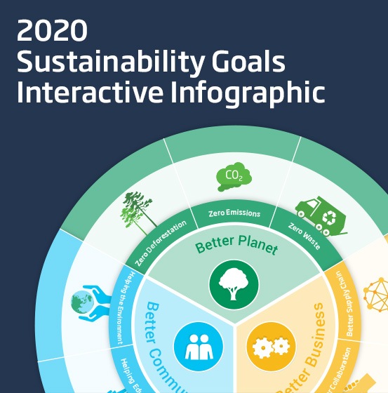 A thumbnail image for the Brambles' 2020 Sustainability Goals Interactive Infographic. The image features a capture of the 2020 Sustainability Goals Graphic on a midnight blue background with the title, 'Brambles' 2020 Sustainability Goals Interactive Infographic'.