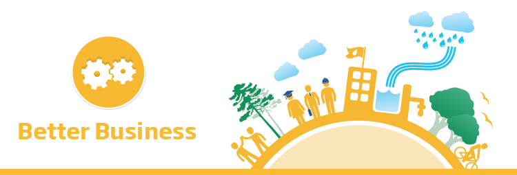 The banner image features the text 'Better Business' in yellow with the respective Better Business cog icon. Beside this is a 2D flat illustrative town with business people and an ecosystem positioned around the circumference of a hemispherical shape symbolising a globe. This illustration is of a yellow colour scheme representing the Better Business sector of the Brambles' sustainability framework.