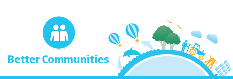 The banner image features the text 'Better Communities' in cyan with the respective Better Communities people icon. Beside this is a 2D flat illustrative town with business people and an ecosystem positioned around the circumference of a hemispherical shape symbolising a globe. This illustration is of a cyan colour scheme representing the Better Communities sector of the Brambles' sustainability framework.