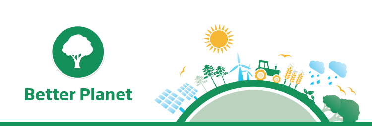 The banner image features the text 'Better Planet' in green with the respective Better Planet tree icon. Beside this is a 2D flat illustrative town with business people and an ecosystem positioned around the circumference of a hemispherical shape symbolising a globe. This illustration is of a green colour scheme representing the Better Planet sector of the Brambles' sustainability framework.