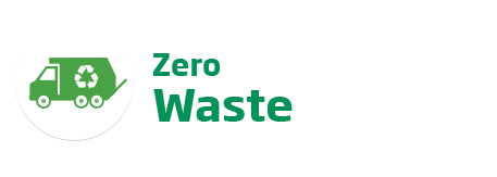 An image of the 'Zero Waste' logo. This text is featured in green beside a recycle garbage truck icon.