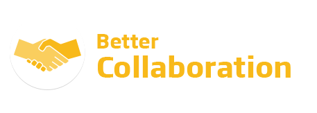An image of the 'Better Collaboration' logo. This text is featured in yellow beside a yellow handshake icon.