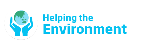 An image of the Better Communities 'Helping the Environment' logo. This text is featured in cyan beside a icon of two hands carefully holding the Earth.