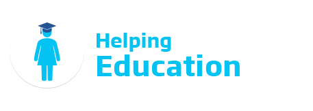 An image of the Better Communities 'Helping Education' logo. This text is featured in cyan beside a icon of a woman wearing a graduation cap.