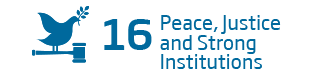 An image of the 16th Sustainability Goal, 'Peace Justice and strong Institutions'