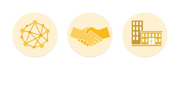 An image consisting of the three icons that represent the 3 goals within the Better Business Sector of the Brambles' Sustainability framework. These include Better Supply Chains represented through a network icon, Better Collaboration represented through a handshake icon, and Better Workplace represented through a buildings icon.