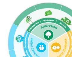 An image that consists of a capture of the Brambles' 2020 Sustainability Goals Interactive Infographic