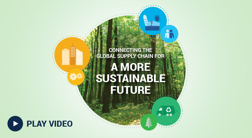 A thumbnail image for the Brambles' FY18 Sustainability Highlights video. The thumbnail features a circular cropped photograph of a forest, overlayed with the words, Connecting the Global Supply Chain for a more Sustainable Future'. The previously mentioned is surrounded by Better Business, Better Planet, and Better Communities icons. Also accompanied by 'Play video' text.