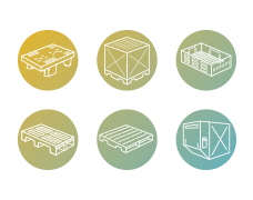 6 different logistics icons each inside a green to yellow gradient circles. The icons are of various forms of pallets, crates and containers