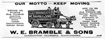 A historic image of a horse and carriage featured in a newspaper article surrounded by the words 'W. E. Bramble & Sons' and 'Our motto - keep moving'