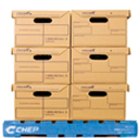 Side view image on a blue CHEP pallet with a stock load of brown boxes